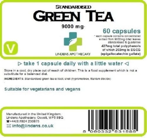 Zelený čaj, vysoký obsah EGCG, etiketa zloženia